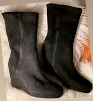Black Suede PRADA Wedge Boots Booties 38 Preowned