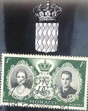 Grace Kelly/Prince Rainier wedding commemorative postcard w.1956 stamp