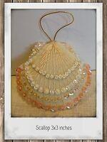 Sea Shell Felt Ornament Hand Sewn Beaded Sequined Scallop Seashell beach decor