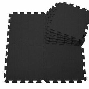 EVA Interlocking Black Mat Thick Floor Gym Yoga Set Soft Foam Tiles Kid Activity