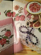 Pretty in Pink, Inc Diary Cover, Table Runner, bijou pot cross stitch chart