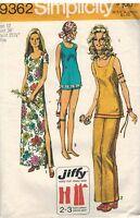 9362 Vintage Simplicity Sewing Pattern Misses Jiffy Dress Pants Tunic 1970's OOP