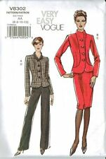 Vogue V8302 Misses Straight Skirt Jacket and Pant Suit Size 6-8-10-12