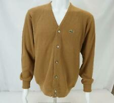 VTG Izod Lacoste Button Up Cardigan Sweater Brown Men's Large