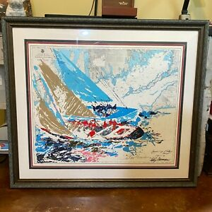 """LeRoy Neiman """"AMERICA'S CUP"""" Custom Framed Art Signed Serigraph Sailing with COA"""
