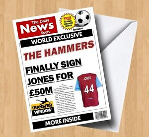 Personalised Unofficial 'The Hammers' West Ham Football Birthday Card
