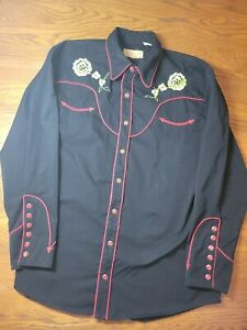 SCULLY Mens Embroidered Western Shirt Snap Button Floral Black Red sz L