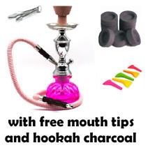 Hookah 1 Hose Decorative Smoking Nargila Glass Water Pipe Set W/ Tips Charcoal