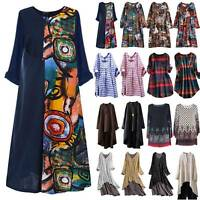 Womens Boho Floral Printed Summer Holiday Casual Loose Shirt Dresses Plus Size
