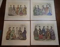 1970 McCall Centennial Portfolio of 4 Prints of Godey's 1870 Fashions   LS0497