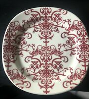 Lot of 3 Pottery Barn VERSAILLES Dessert-Salad Plates Red-Cream Chandelier Lace