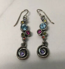 PATRICIA LOCKE Dew Drop MultiColor Swarovski Crystal Silver Hook Earrings Swirl