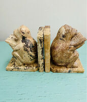 Vintage Hand Carved Stone Marble Bookends Reading Monkeys Made In India
