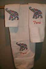 Paisley Elephant Personalized 3 Piece Bath Towel Set Any Color Choice