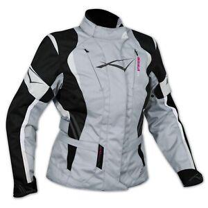 Ladies Motorcycle Motorbike Thermal Waterproof Textile Touring Jacket Grey S