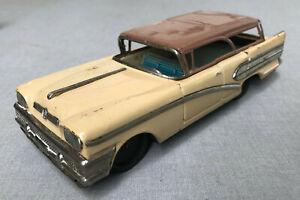 "Vintage 1958 BANDAI 8"" 2-Tone BUICK ESTATE WAGON Tin Litho Vehicle Japan"