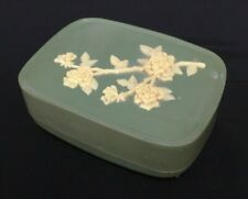 Vintage Green Soap Dish with cover, with cameo flower design