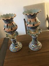 A Pair Ceramic Handmade And Hand  Painted tulip candle holders