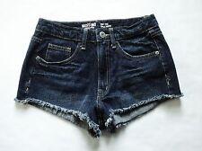 MOSSIMO sz 7 High Rise Waist 100%Cotton Denim Jean Shorts Dark Wash Blue Cut Off
