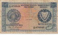Billet banque CHYPRE CYPRUS 250 MIL 01-03-1971 état voir scan