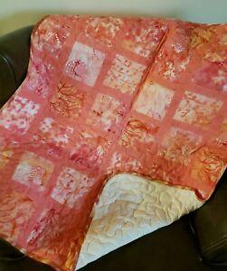 "Batik Orange Handmade Baby Quilt 36"" x 36"""