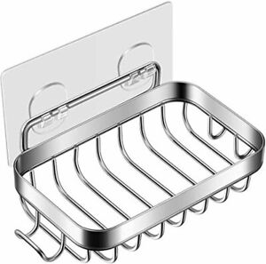Stainless Steel Wall Mounted Bar Soap Holder with Hook for Bathroom Kitchen