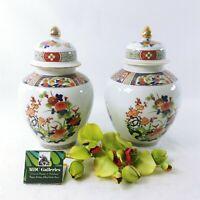 Asian Ginger Jars with Lid Finial Top Porcelain Set of 2