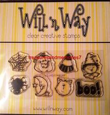 WILL N WAY Clear Stamps HALLOWEEN Pumpkin, Spiderweb, boo! 8 Stamps