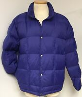 LL BEAN VINTAGE BLUE QUILTED GOOSE DOWN INSULATED PUFFY JACKET COAT MEN'S SZ L