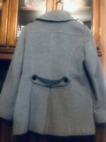 Hilary Radley Womens Alpaca Coat Jacket Grey-Black Size 6
