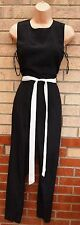 DOROTHY PERKINS BLACK WHITE TRIM BELTED SILKY FEEL JUMPSUIT ALL IN ONE S 8 10