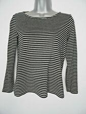 PEOPLE TREE Organic Cotton Breton Striped Top Size 8 Black White