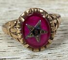 Spectacular Estate 10K Yellow Gold Ruby Eastern Star Ring Size 5