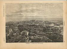 Stampa antica CATANZARO veduta panoramica Calabria 1891 Old antique print