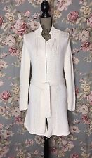 Eileen Fisher Ivory Cable knit Cotton Long Wrap Cardigan Sweater-Coat size XS