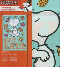 Garden Flag Snoopy Peanuts Fall Autumn Leaves Dancing Welcome Small Mini New