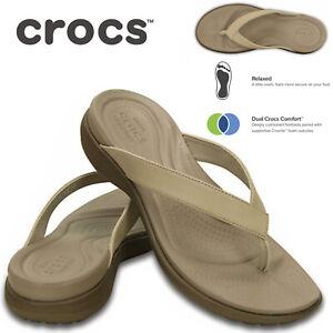 Crocs Women's Capri V Flip Flops Thongs Summer Comfy - Chai/Walnut