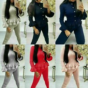 Womens Fine Ribbed Frill Peplum Gold Button Loungewear Suit Ladies Tracksuit Set