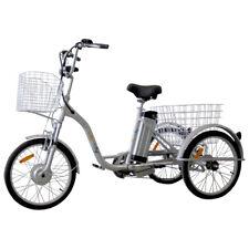 "Trike Bike Adult Tricycle 20"" Aluminium 3 Wheeled - 6 Gears & Baskets - ELECTRIC"