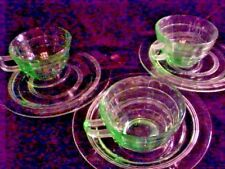CANAPE SETS, LOT OF 3 SETS GREEN DEPRESSION GLASS,BLOCK OPTIC, CUP AND PLATE.