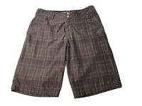 Quiksilver Mens Size 30 Amphibian In & Out Of Water Brown Plaid Shorts EUC