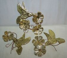 Vintage Home Interior Gold Metal Art Humming Birds & Flower Wall Plaques 22907