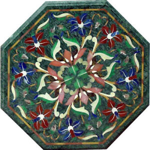 "green marble 18"" Table Top handmade inlaid semi precious stones art work"