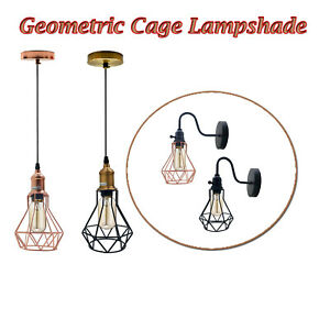 Modern Industrial Style Pendant Light Retro Ceiling Geometric Wire Cage Lamp