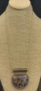 Barse Ecuador Half Moon Necklace- Amethyst & Bronze- NWT