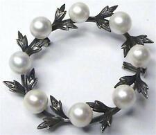 ANTIQUE VICTORIAN CHASED STERLING MULTI CULTURED PEARL BROOCH PIN TROMBONE CLASP