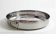 SET 2 - Stainless Steel round Roasting/ Oven tray silver with handles 22cm+29cm