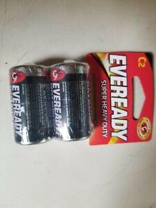 Eveready Super Heavy Duty C C2 Carbon Zinc Batteries NEW