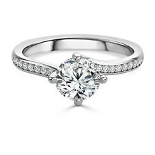 Round Moissanite 1.20 CT Diamond Engagement Rings Solid 14kt Gold Size M N P 1/2