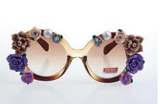 Vintage fashion leopard frame pearl with  flower UV 400 handmade sunglasses